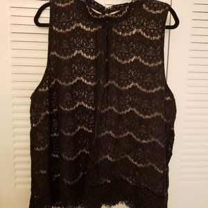 4X Love Fire Black/Lace Dressy Sleeveless Blouse
